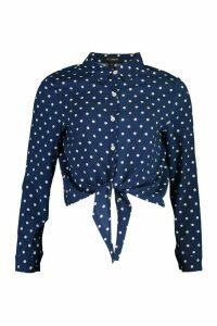Womens Polka Dot Tie Hem Shirt - navy - M, Navy