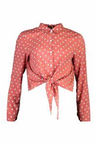 Womens Polka Dot Tie Hem Shirt - Pink - L, Pink