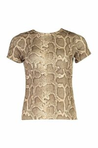 Womens Snake Print Cap Sleeve T-Shirt - brown - 16, Brown