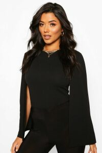 Womens Cape Sleeve Detail Top - Black - 10, Black