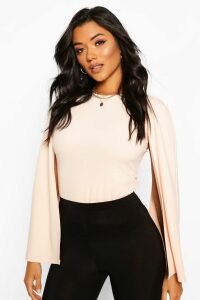 Womens Cape Sleeve Detail Top - Pink - 8, Pink