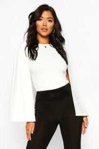 Womens Cape Sleeve Detail Top - White - 12, White