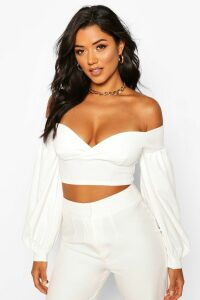 Womens Off The Shoulder Sweetheart Crop Top - White - 14, White