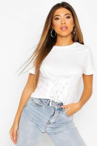 Womens Lace Up Front T-Shirt - White - Xs, White