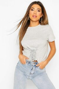 Womens Lace Up Front T-Shirt - Grey - L, Grey