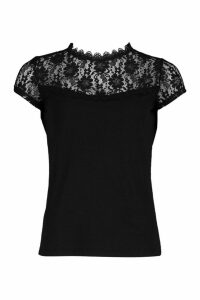 Womens Lace Panel T-Shirt Top - black - 16, Black