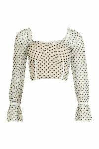 Womens Polka Dot Cage Detail Organza Top - white - M, White