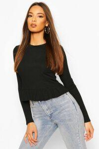 Womens Rib Ruffle Hem Long Sleeve Top - Black - 16, Black
