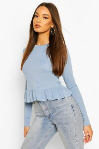 Womens Rib Ruffle Hem Long Sleeve Top - Blue - 16, Blue
