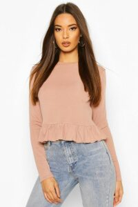 Womens Rib Ruffle Hem Long Sleeve Top - beige - 16, Beige