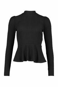 Womens Rib Peplum Puff Shoulder Top - Black - 14, Black