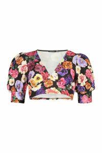 Womens Floral Puff Sleeve Crop Top - Black - 16, Black