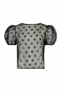 Womens Puff Sleeve Polka Dot Organza Mesh Top - Black - 8, Black