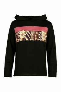 Womens Leopard Colour Block Hoody - Black - 6, Black