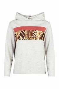 Womens Leopard Colour Block Hoody - Grey - 8, Grey