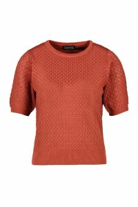 Womens Lace Knit Jumper - Orange - M, Orange