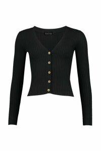 Womens Skinny Rib Button Through Cardigan - black - M, Black