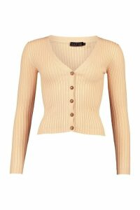 Womens Skinny Rib Button Through Cardigan - Beige - Xs, Beige