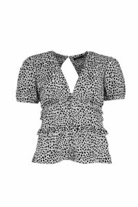Womens Dalmation Print Ruffle Button Blouse - white - 16, White