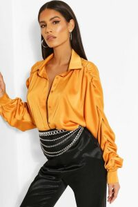 Womens Woven Rouched Sleeve Shirt - orange - 16, Orange