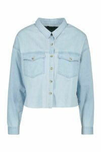Womens Cropped Oversized Denim Shirt - Blue - 16, Blue