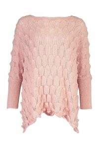 Womens Oversized Bobble Knit Jumper - Pink - S/M, Pink
