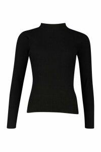 Womens Knitted Rib Jumper - black - M, Black