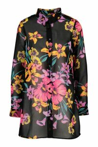Womens Neon Floral Midi Beach Shirt - Black - 16, Black