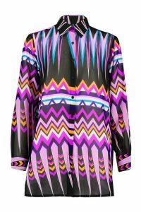 Womens Zig Zag Beach Shirt - purple - M, Purple