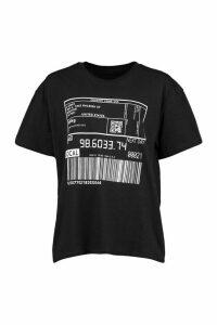 Womens Barcode Print T-Shirt - Black - L, Black