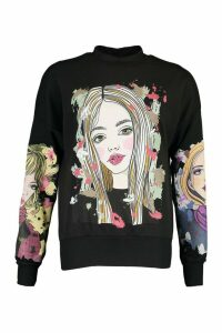 Womens Face Print Sweatshirt - Black - M, Black