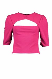 Womens Textured Ruched Cut Out Top - Pink - 16, Pink