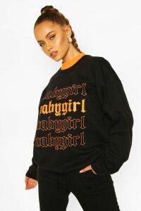 Womens Baby Girl Oversized Sweatshirt - black - M, Black