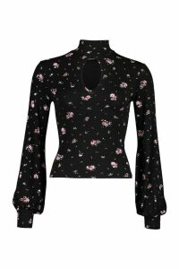 Womens Floral Print Keyhole Front roll/polo neck Top - black - 14, Black