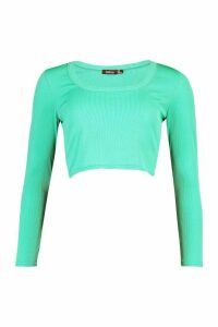 Womens Rib Scoop Neck Long Sleee Top - Green - 16, Green