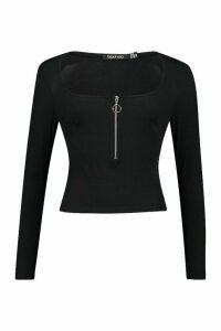 Womens Rib O-Ring Zip Long Sleeved Top - black - 14, Black