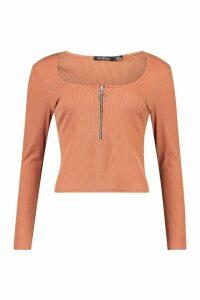 Womens Rib O-Ring Zip Long Sleeved Top - brown - 16, Brown