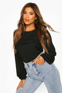Womens Puff Sleeve Ruffle Front Top - Black - 16, Black