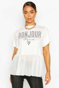 Womens Bonjour Slogan Mesh T-Shirt - White - 10, White