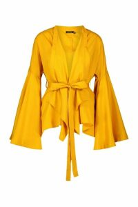 Womens Extreme Flare Sleeve Wrap Top - Yellow - 16, Yellow