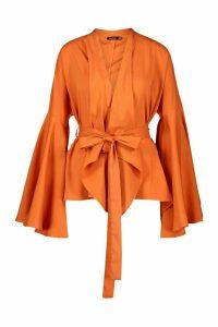 Womens Extreme Flare Sleeve Wrap Top - orange - 16, Orange
