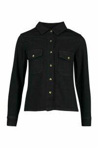 Womens Mock Horn Button Denim Shirt - Black - 16, Black