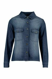 Womens Mock Horn Button Denim Shirt - Blue - 14, Blue