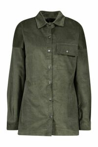 Womens Oversized Cord Shirt - green - 10, Green