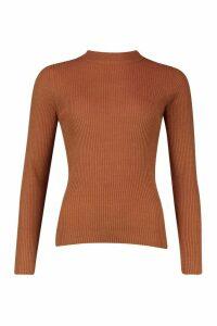 Womens Knitted Rib Jumper - orange - XS, Orange