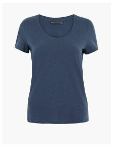 M&S Collection Pure Cotton Scoop Neck Regular Fit T-Shirt