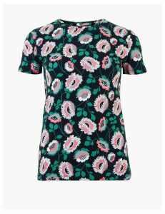 M&S Collection Cotton Rich Floral Print Fitted T-Shirt