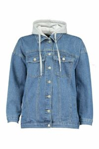 Womens Jersey Hood Longline Denim Jacket - blue - 16, Blue