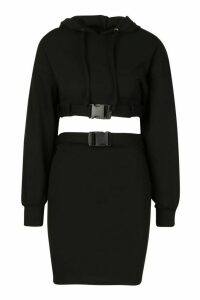 Buckle Hoodie Detail Mini Skirt Set - black - M, Black