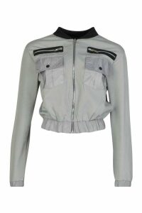 Womens Mesh Detail Bomber Jacket - Grey - 8, Grey